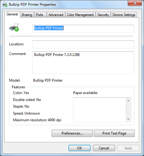 PDF Printer Properties