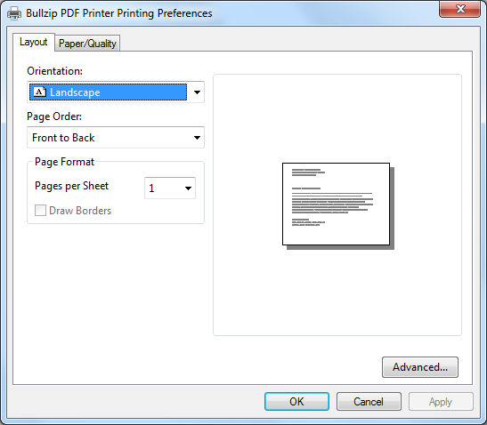 PDF Printer Properties - Landscape